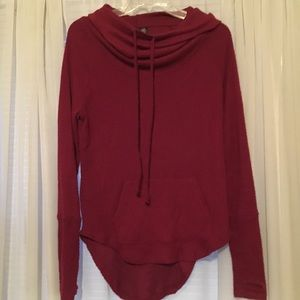 Red hooded slouch neck shirt size M